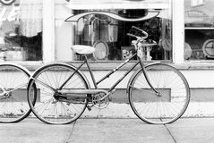 Black and white vintage bike. In northern Michigan small Royalty Free Stock Images