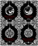Black and white vintage cards for New Years and Christmas holiday with decorative hanging ball with winter landscape, deer, snowfa. Black and white vintage cards vector illustration