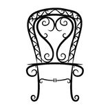 Black and white vintage chair on white background Stock Images