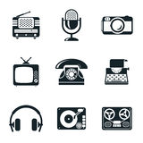 Black and White Vintage Device Icons Stock Photos