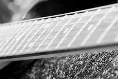 Black and white vintage fretboard electric guitar Royalty Free Stock Images