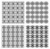 Black and white vintage geometric patterns collection, fine ornament Royalty Free Stock Images