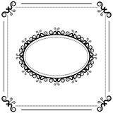 Black and white vintage oval frame on a white background Stock Photo