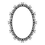 Black and white vintage oval frame on a white background. Hand-drawn Royalty Free Stock Photos