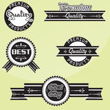 Black and white Vintage premium quality labels set. Vector design elements. Black and white Vintage premium quality labels set Vector design elements Royalty Free Stock Photography