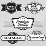 Black and white Vintage premium quality labels set. Vector design elements. Black and white Vintage premium quality labels set Vector design elements Stock Photos