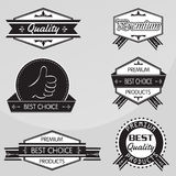 Black and white Vintage premium quality labels set. Vector design elements. Stock Images