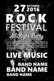 Black and white Vintage Rock festival design template with crowd on back and place for text. Rock poster background. Black and white Vintage Rock festival Stock Photography
