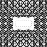 Black white vintage secession pattern with retro sticker. Black white vintage secession pattern with rounded etiquette Stock Photo