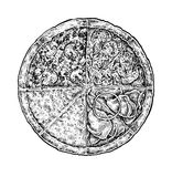 Black and white vintage sketchy style illustration of a pizza. Stock Image