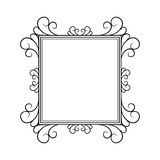 Black and white vintage square frame on white background Stock Photos
