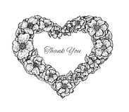 Black and white vintage style floral frame in a shape of a heart Stock Image