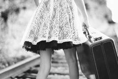 - Black And White Vintage Suitcase Girl Railroad Tracks Walking Royalty Free Stock Photos
