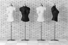 Black and White Vintage Tailor Women Mennequins. 3d Rendering. Black and White Vintage Tailor Women Mennequins in front of brick wall. 3d Rendering Stock Image
