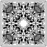 Black and white vintage tile with geometric even distributed ornament. Royalty Free Stock Photo