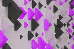 Black, white and violet rectangular shapes of random size on whi. Te background. Wall of cubes. Abstract background. 3D rendering illustration Royalty Free Stock Photo