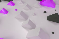 Black, white and violet rectangular shapes of random size on whi. Te background. Wall of cubes. Abstract background. 3D rendering illustration Royalty Free Stock Photography