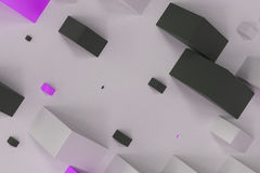 Black, white and violet rectangular shapes of random size on whi. Te background. Wall of cubes. Abstract background. 3D rendering illustration Stock Photos