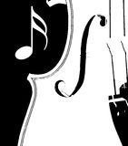 Black and White Violin. Abstract black and white outline of violin with musical note Royalty Free Stock Photo