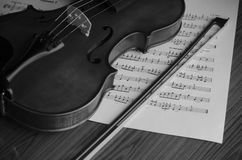 Black and white violin Royalty Free Stock Image