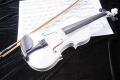 Black and white violin with music notes Royalty Free Stock Photography