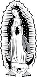 Black and white Virgin of Guadalupe Stock Image