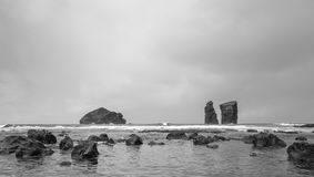 Black & White from the Volcanic Beach of Mosteiros in Sao Miguel. Azores, Portugal Stock Images