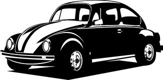 Black and white volkswagen beetle Royalty Free Stock Photos