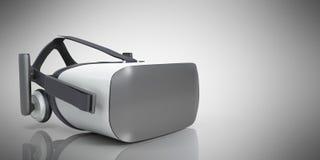 Black and White VR Virtual Reality Headset on grey Background 3D Illustration stock illustration