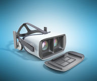 Black and White VR Virtual Reality Headset Isolated on blue Back. Ground 3D Illustration vector illustration