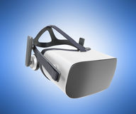 Black and White VR Virtual Reality Headset Isolated on blue Back. Ground 3D Illustration stock illustration