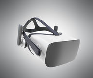 Black and White VR Virtual Reality Headset Isolated on grey Back. Ground 3D Illustration vector illustration