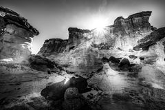 Black and white Wahweap Hoodoos near Kanab Royalty Free Stock Photography