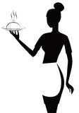 Black and white waitress. A illustration of black and white waitress drawing Stock Images