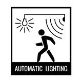 Black and white walking man with motion sensor and light bulb on. Information sign Stock Image
