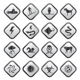 Black and white warning Signs for dangers in sea, ocean, beach and rivers Stock Photo