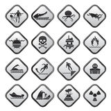 Black and white warning Signs for dangers in sea, ocean, beach and rivers Royalty Free Stock Photography