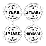 Black and white warranty stickers, badges with star, cut out lines Stock Photography