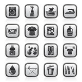Black and white washing machine and laundry icons. Vector icon set Stock Image