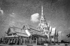 Black and white Wat Thailand. Black and white Wat Sothon Taram Worawihan Thailand royalty free stock photos