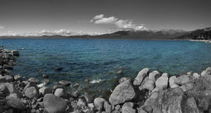Black White and Water. A black and white image of Hidden Beach at Lake Tahoe with selective coloring Royalty Free Stock Photography