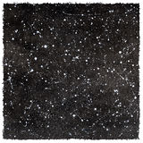 Black and white watercolor night sky with stars and rough edges Royalty Free Stock Photo
