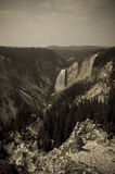 Black and White Waterfall. In Yellowstone Stock Photography