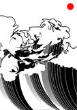 Black-and-white wave. Illustration of a wave, stylized like Japanese watercolor. Simple solid fill only - no gradient, no gradient mesh Stock Image