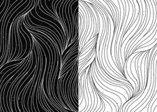 Black and white wave patterns vector Royalty Free Stock Image