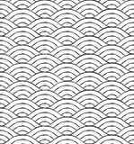 Black and white waves seamless pattern vector illustration