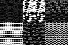 Black and white waves and zig zag set, contour vector hand drawn and geometrical seamless backgrounds Stock Image