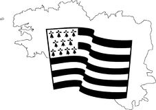 Flag of Brittany waving on wind isolated on white background. Black-and-white waving Breton flag isolated on a white background, big size france region Brittany Stock Photo