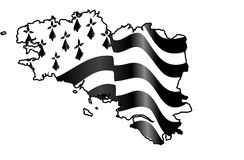 Flag of Brittany waving on wind isolated on white background. Black-and-white waving Breton flag isolated on a white background, big size france region Brittany Stock Photography
