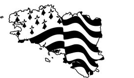 Flag of Brittany waving on wind isolated on white background. Black-and-white waving Breton flag isolated on a white background, big size france region Brittany Royalty Free Stock Photography